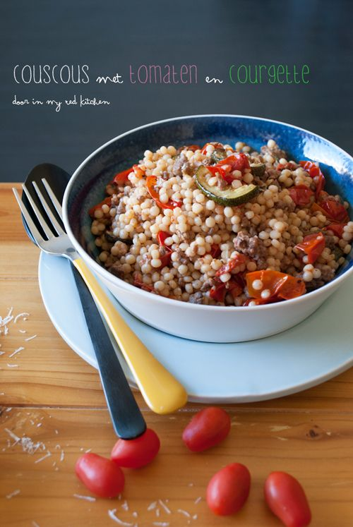 Couscous with tomatoes, zucchini and ground beef. A delicious kitchen sink meal! | by 'in my Red Kitchen'