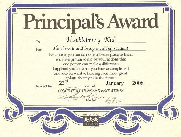 principal certificate award template certificates epic student honor roll awards templates yeni