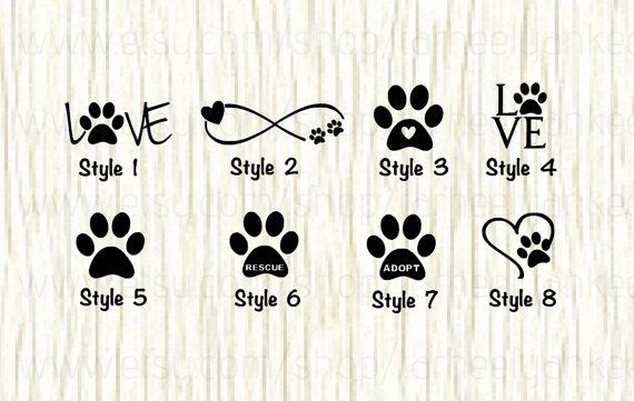 Love Paw Animal Car Decal Dog Love Paw Word Decal Paw