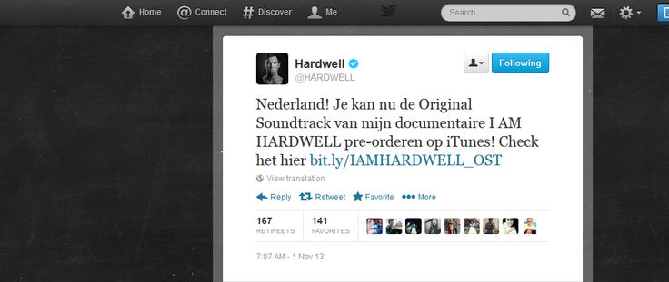 Hardwell tweeting in Dutch to promote his original soundtrack for his documentary  #iamhardwell #netherlands #dutch #mrk634