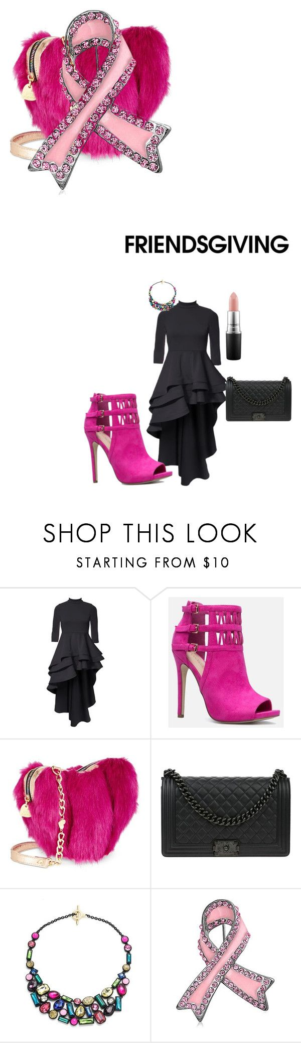"""""""plus size fashion"""" by pinkpearls44 on Polyvore featuring JustFab, Betsey Johnson, Chanel, Trina Turk, Bling Jewelry and MAC Cosmetics"""