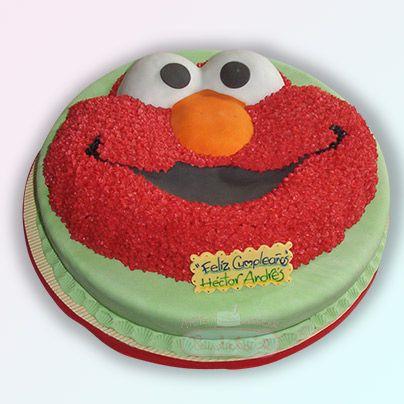 Ponqué Elmo, para fiestas infantiles. Aprende a decorar tortas en Paulitas Arte y Azúcar