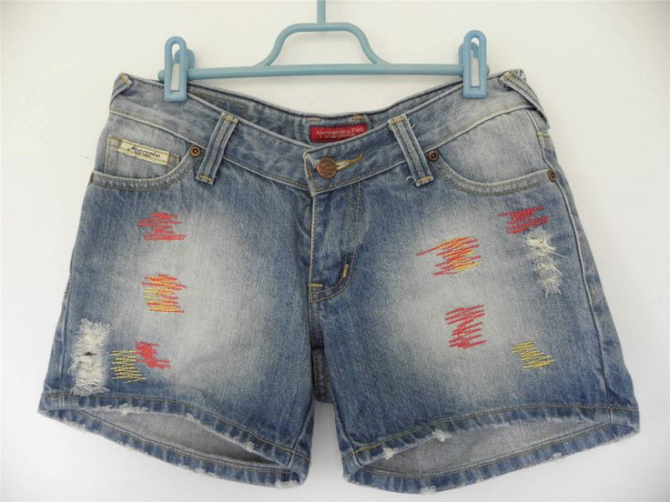Abercrombie and Fitch Distressed Denim Summer Shorts M Zig Zag Embroidery