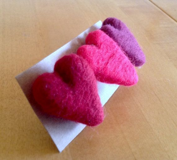 Heart brooches needle felting kit with full colour easy to