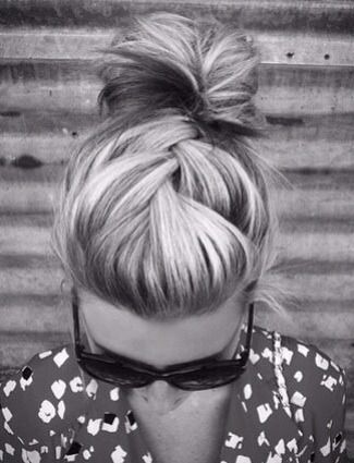 Braid and a bun. Simple and chic.