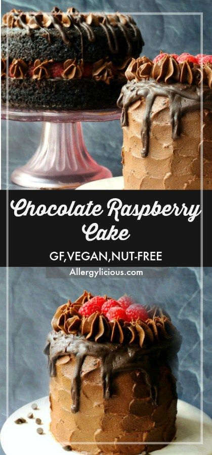 Rich, delicious and incredibly easy to make, is what make this vegan chocolate cake recipe best! Or maybe its all the layers of chocolate and raspberries. #vegan #glutenfree #chocolate #chocolatecake
