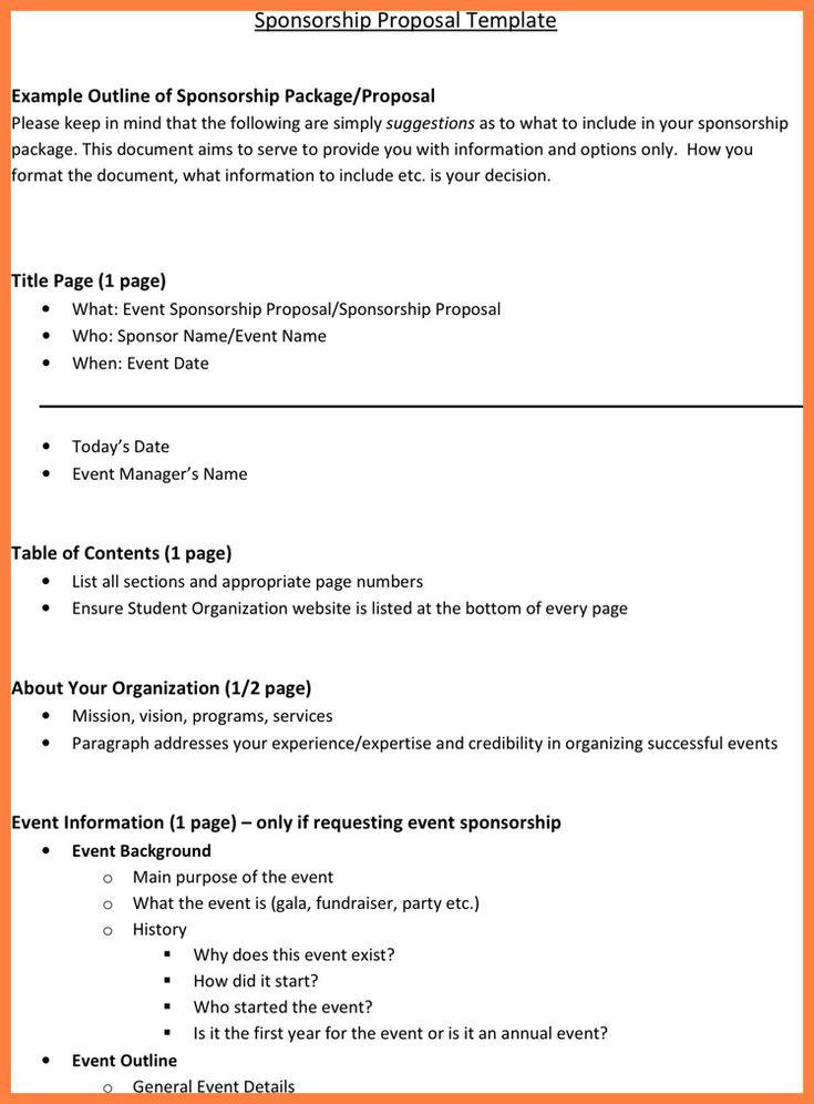 Doc#697795 Sponsorship Proposal Letter u2013 40 Sponsorship Letter - event proposal template doc