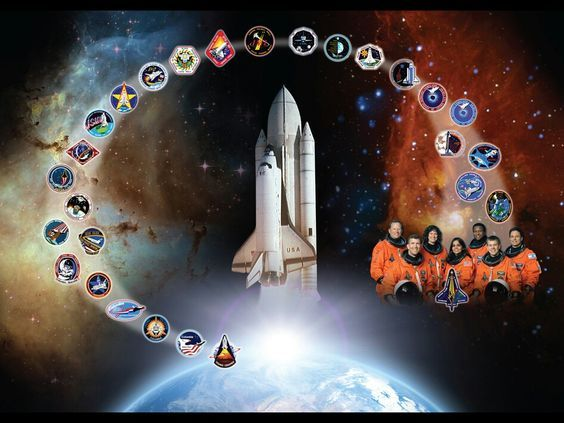 NASA space shuttle Columbia tribute art featuring mission patches of the many successful missions of America's first re-useable spacecraft. Pictured at the right of the image are the crew of 7 who tragically lost their lives on the February 2003 reentry disaster.