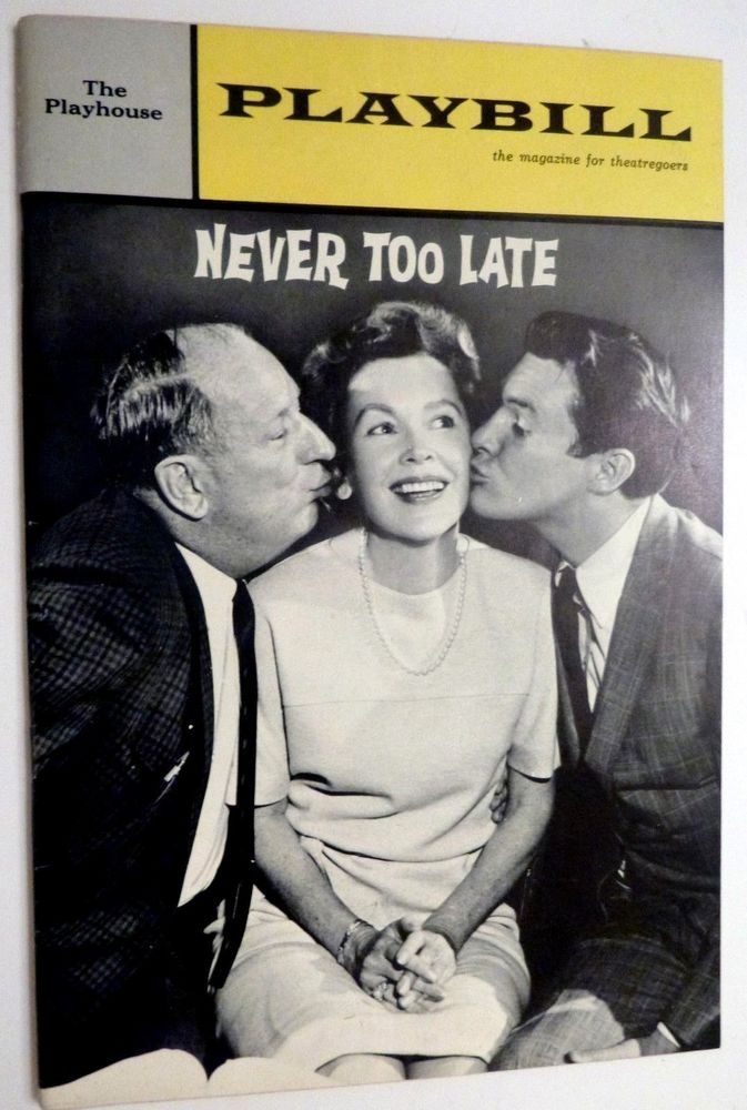 1964 Playbill NEVER TOO LATE Paul Ford Maureen O'Sullivan and Orson Bean