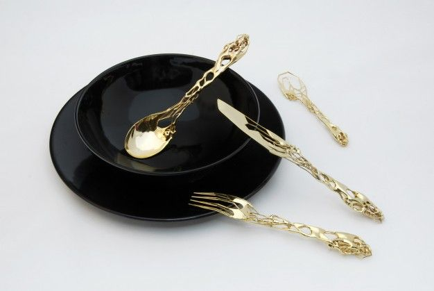 3D printed brass and gold cutlery by Eragatory | FUTU.PL