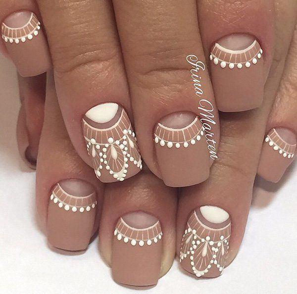 Nude / Natural Nails with White detailed Scroll Work Ornate Free Hand Nail Art