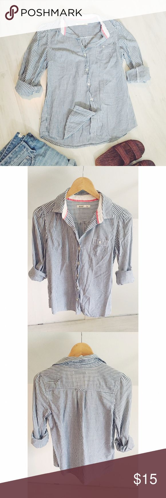 Old Navy Nautical Stripe Button Down Shirt This shirt is perfect paired with jean shorts and sandals, over a swimsuit or tucked in with floral skirt and wedges!  Lightweight and a beautiful white and grey/blue color palette. Gently used. Great condition. Old Navy Tops Button Down Shirts