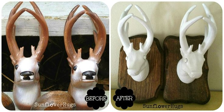 SunflowerHugs: Secondhand Scores Transformation | Mounted Deer Heads