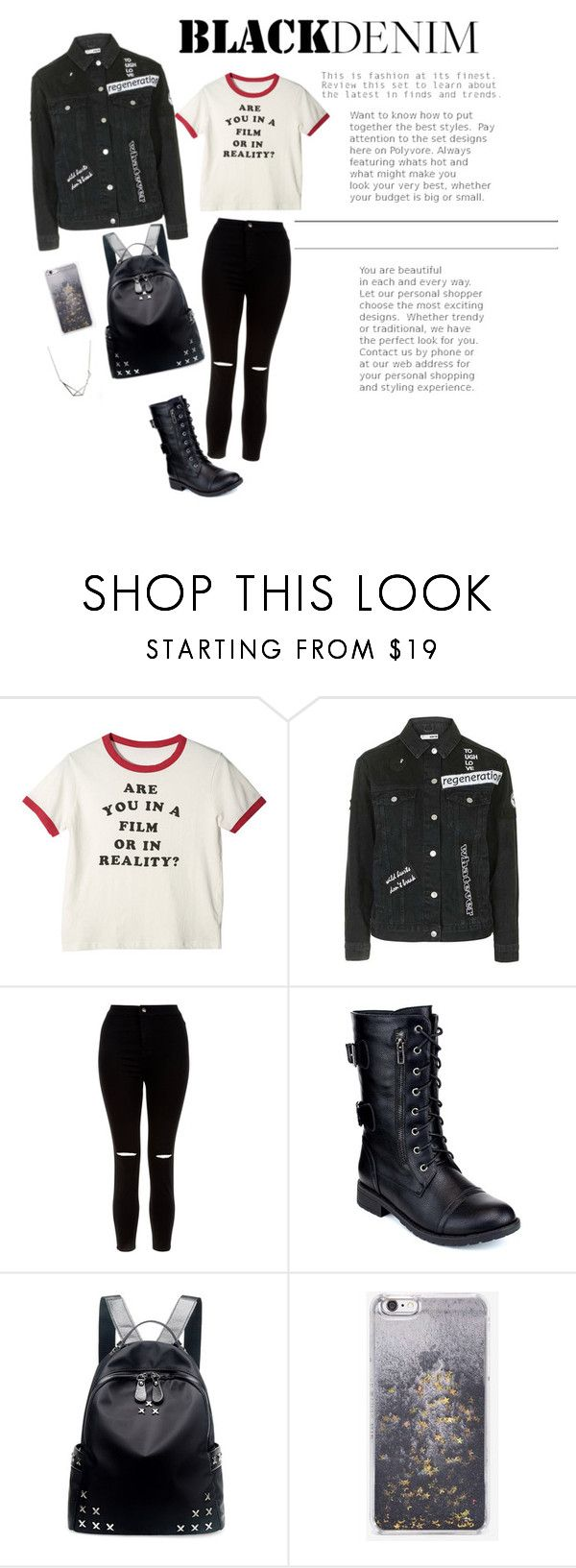 """black denim"" by barbi2003 on Polyvore featuring Topshop, New Look, Refresh, Chicnova Fashion and Skinnydip"
