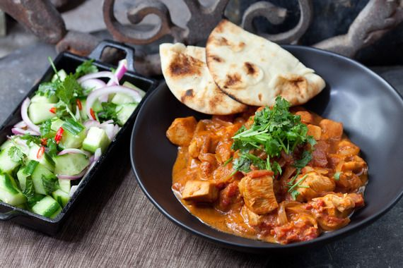 Chicken Tikka Masala with Minted Cucumber Salad & Naan. Visit http://www.blueapron.com/ to receive the ingredients.