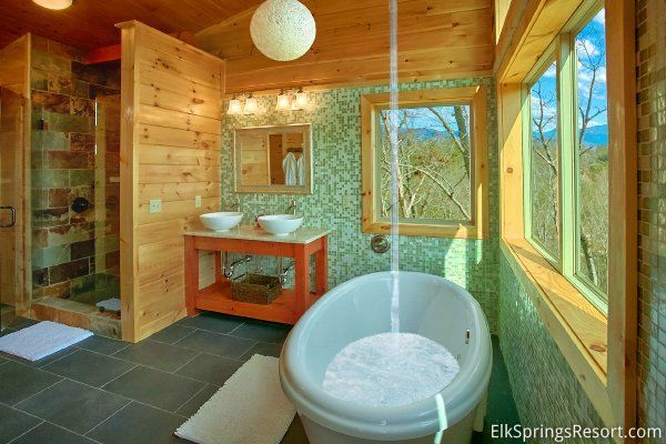 Romantic Indoor Pool Cabin   Outdoor bathtub, Indoor pool