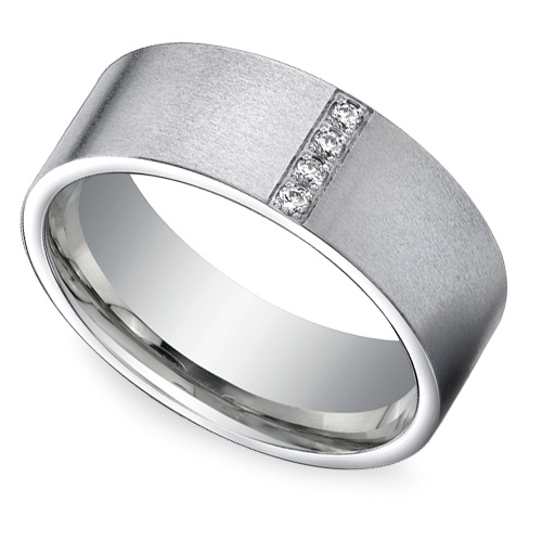 Pave Men S Wedding Ring In White Gold 8mm Pinterest Rings And Bands