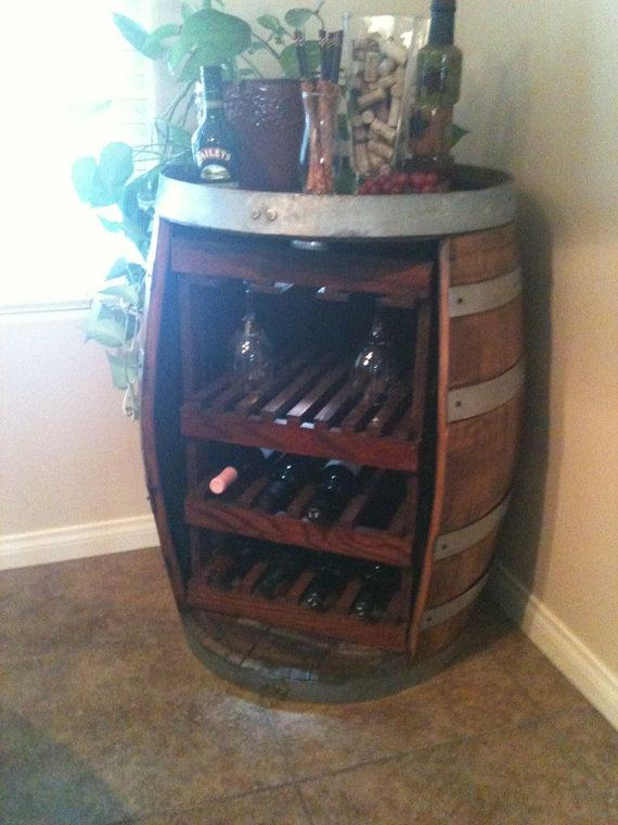 Wine Barrel Wine Rack by Forgetmenotdecor on Etsy, $240.00