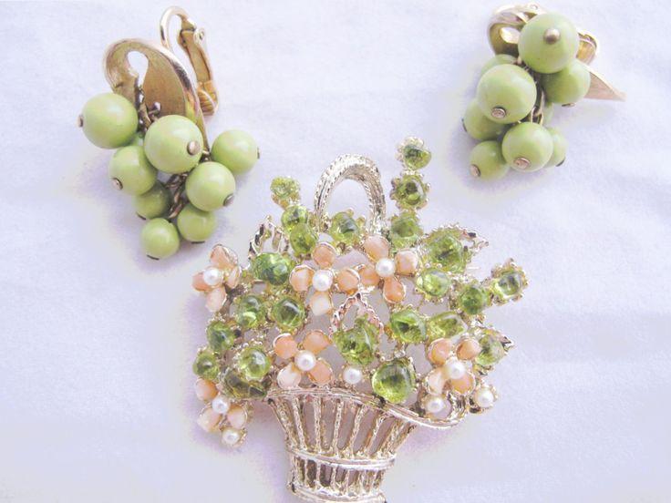 Vintage Flower Basket Brooch, Summer, Wedding, Drop Earrings, light green, pinks, silver, goldtone, by DesignerShowcase on Etsy