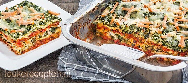 Makkelijk en lekker recept voor lasagne met gerookte kip en spinazie en wening calorieën