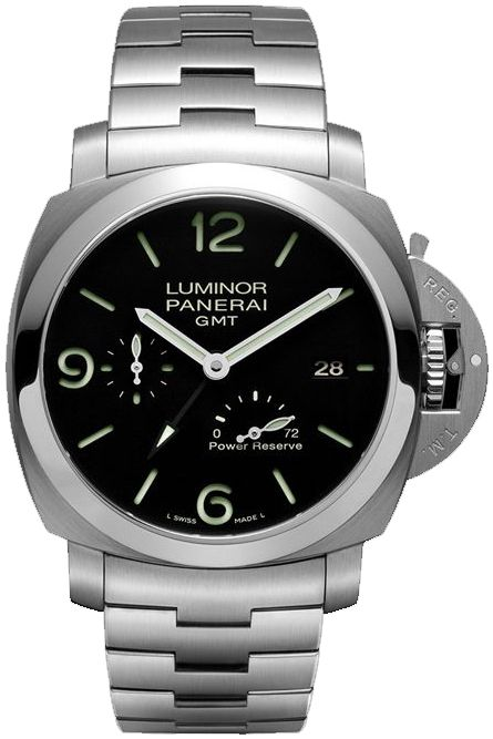 $7195 PAM00347NEW PANERAI 1950 3 DAYS GMT POWER RESERVE AUTOMATIC ACCIAIO MENS WATCH IN STOCK - Luxury Sales Event on All Panerai WatchesExtended Returns until January 31st, 2016   - FREE Overnight Shipping   Lowest Price Guaranteed    - No Sales Tax (Outside California)- With Manufacturer Serial Numbers- LIMITED EDITION, Numbered XXX / 400 Ever Made- Black Dial- Date Feature- 72 Hour Power Reserve- Power Reserve Indicator- GMT 2nd Time Zone Feature- Self Winding Automatic Movement-