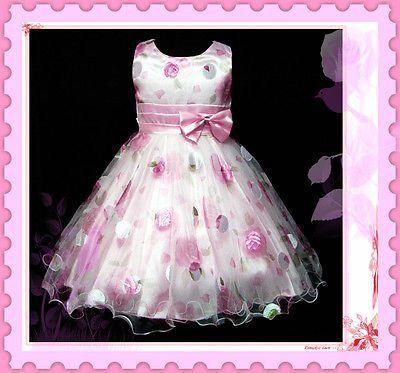 Crianças Pinks Casamento de Natal Meninas De Flor Pageant Vestidos Tamanho 2-3-4-5-6-7-8-10y