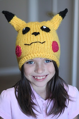 Knitted Pikachu Pattern : Pikachu hat, Pikachu and Hats on Pinterest