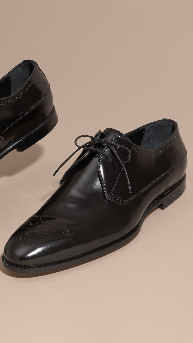 Perforated Detail Leather Derby Shoes Black   Burberry