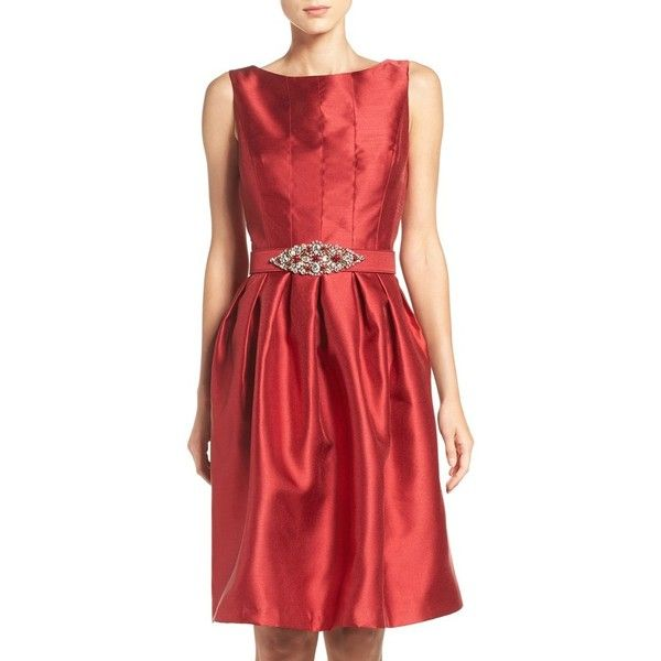 Women's Eliza J Taffeta Fit & Flare Dress (1,275 CNY) ❤ liked on Polyvore featuring dresses, petite, red, petite fit and flare dresses, sparkle dresses, party dresses, pleated dress and sparkly party dresses