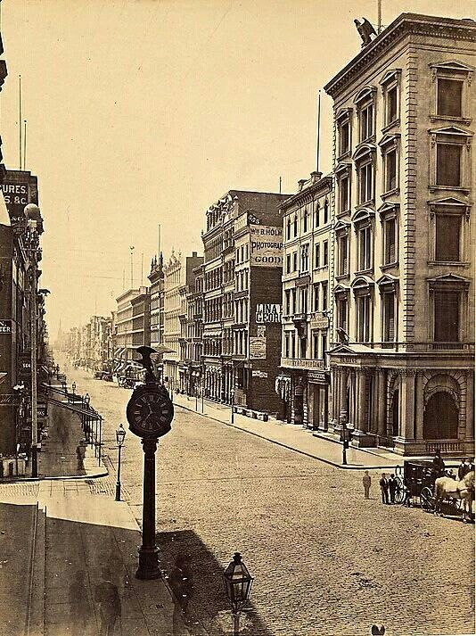 Broadway, looking south from Prince Street, NY, 1860-76