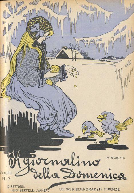 Fra la neve, Giornalino della Domenica, a. III, n. 7, 1908 rubino
