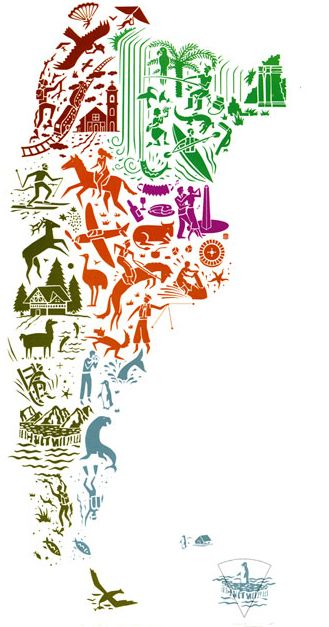 """Argentina """"La Argentina, el país de los seis continentes"""". Este lema fue creado para el plan de promoción turística en 1998 haciendo alusión a su diversidad geográfica, natural y cultural."""