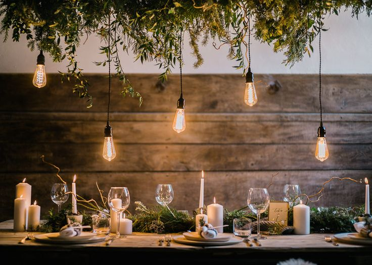 Stylish Winter Wedding Inspiration With Firs Foliage & A Muted Colour Palette Styling by Blue Wren Barn Images by John Barwood Photography