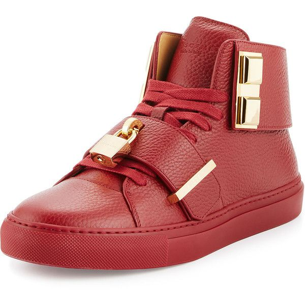 Buscemi Men's 100mm Trap High-Top Sneaker (649.855 CLP) ❤ liked on Polyvore featuring men's fashion, men's shoes, men's sneakers, red, mens high top sneakers, mens sneakers, mens red high tops, mens red sneakers and mens lace up shoes