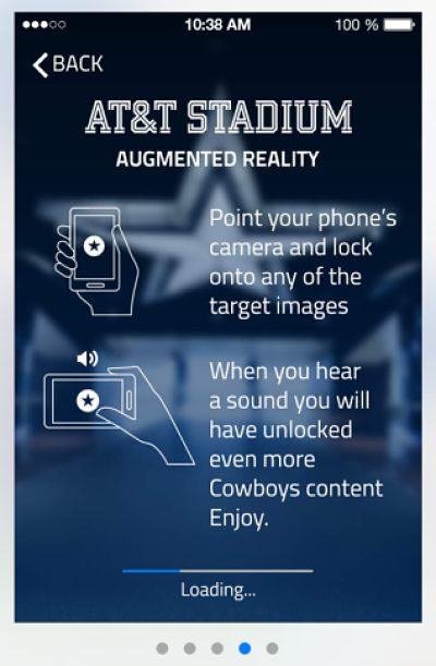The Dallas Cowboys' home, AT&T Stadium, is enhancing the in-stadium experience for visitors with a mobile application that guides them to seats, concession stands and bathrooms and even lets them post photos to a 130-foot LED display screen.