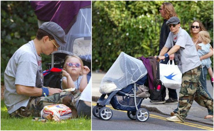 Johnny Depp with little Lily-Rose Depp and then wife Vanessa Paradis