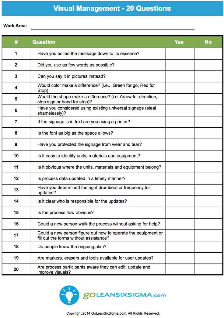 Visual Management - 20 Questions - GoLeanSixSigma.com #SmallBusinessDegree