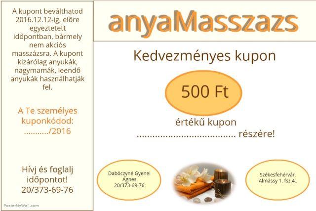 Te is igényelhetsz egy ajéndék 500Ft-os kupont az anyaMasszazs-ba! Kattints ide: http://anyamasszazs.hu/ingyen-kupon/