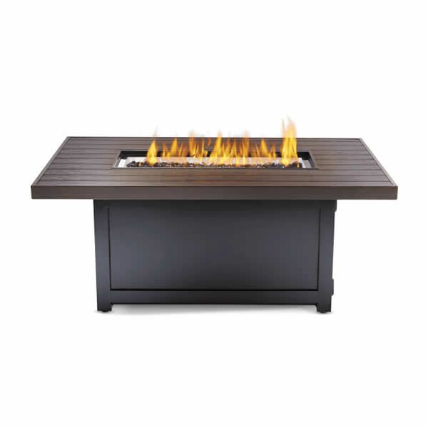 Outdoor Patio Propane Gas Fire Pit Table Rectangle with Fire Glass 50 X 38 In Bronze