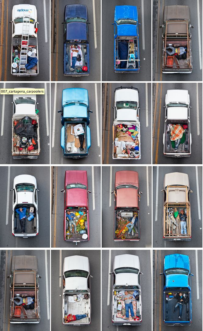 Typology of car poolers in Mexico. Photography by Alejandro Cartagena.