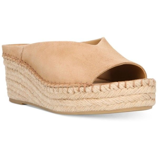 Franco Sarto Pine Slip-On Espadrille Wedge Mules ($65) ❤ liked on Polyvore featuring shoes, dark camel, espadrille shoes, slip-on shoes, chunky wedge shoes, wedge espadrilles and slip on mules