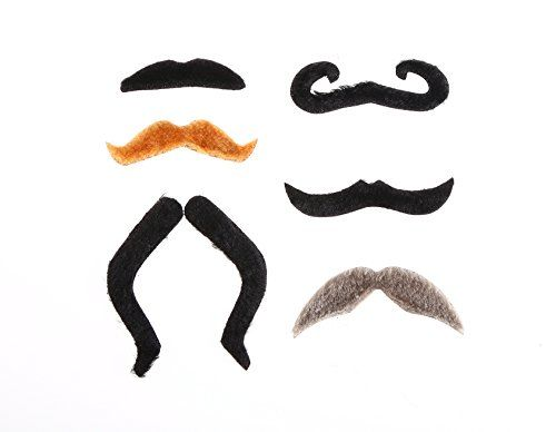 Fake Mustache by Grilong Novelty and Toy, Pack of 6 Premium Mustaches
