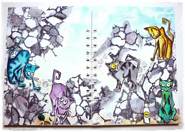 Crazy Cats Art Journal - Simon Monday Challenge