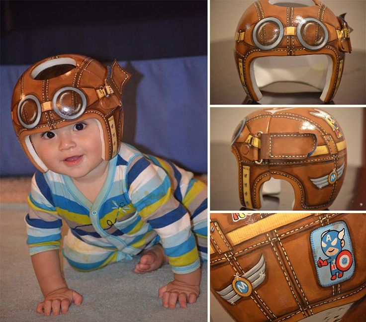What an adorable idea. How sweet are these painted helmets! http://www.boredpanda.com/head-shaping-baby-helmet-art-paula-strawn/