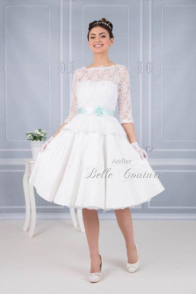 Brautkleider - 50er Jahre Bautkleid Jolina mit Spitzenschößchen - ein Designerstück von atelier-belle-couture bei DaWanda