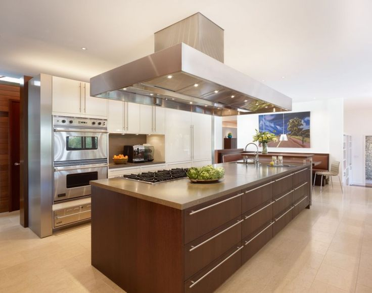 Beautiful Modern Kitchen Looks with Exciting Style Ideas: Spectacular Contemporary Design Kitchen Island With Aspirator With Cream Floors Large Table White Wall Small Chair ~ bubaraba.com Kitchen Inspiration
