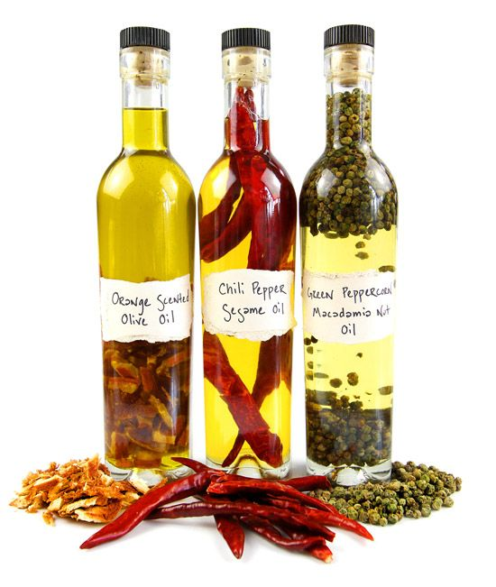 Orange Scented Olive Oil   Chili Peper Olive Oil  Green Peppercorn Macadamia Oil