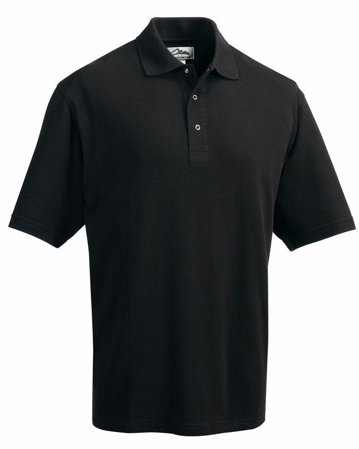 Polyester Short Sleeve Pique Easy Care Knit Shirt. Tri mountain 305 #KnitShirt #Trimountain #ShortSleeve #black