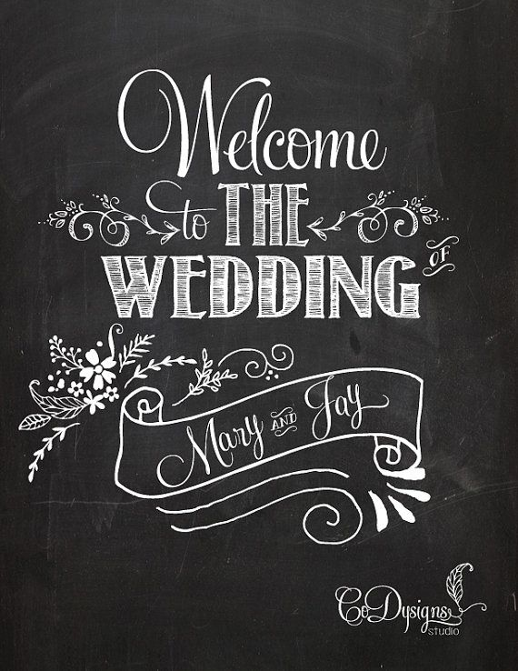 Custom Welcome To The Wedding Of Chalkboard Sign Print