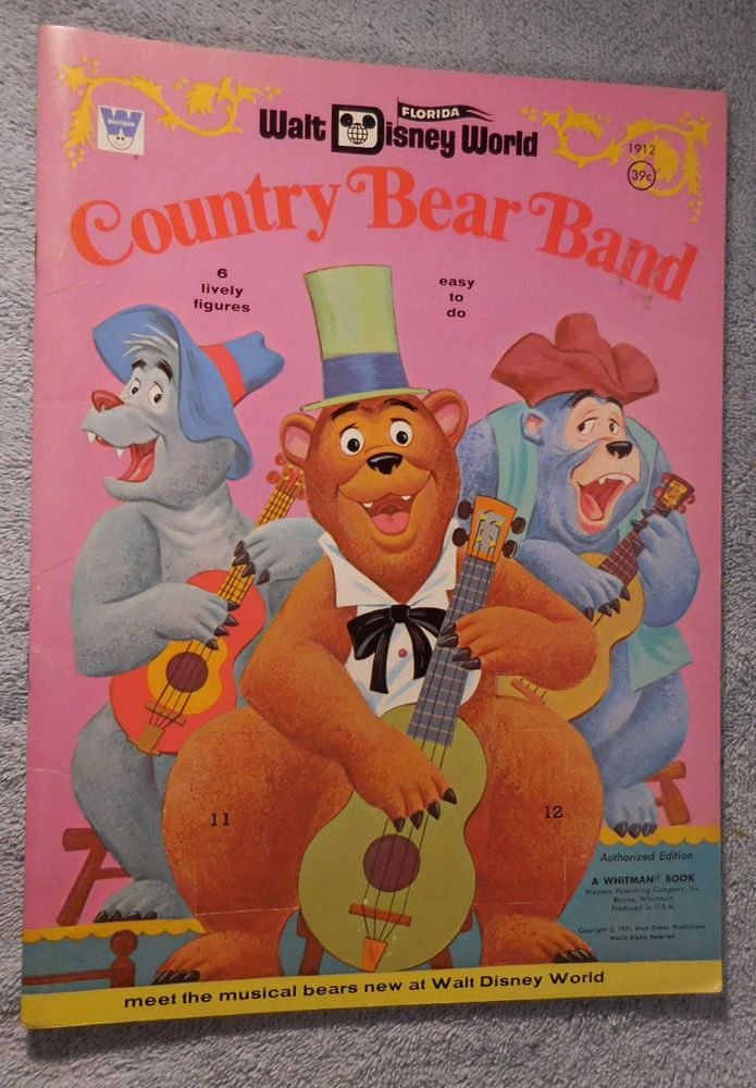 1971 Walt Disney World COUNTRY BEAR BAND Paper Dolls Book Mint Found At